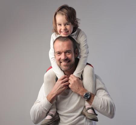 pere et fille: Sourire p�re et sa fille Banque d'images