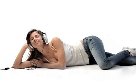Beautiful woman listening to music photo