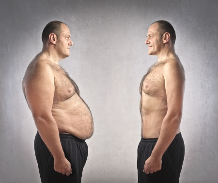 slim tummy: Fat man with fitter one in front of him