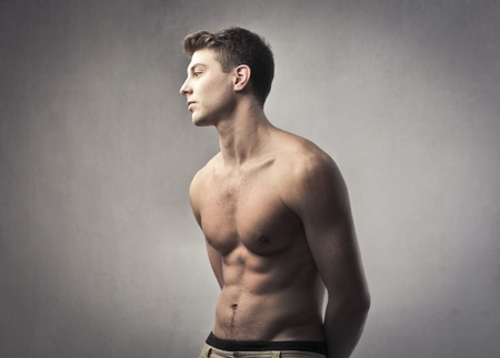 brawn: Handsome bare-chested young man