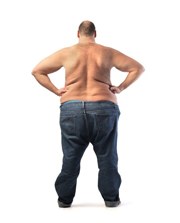 man isolated: Rear view of a fat man