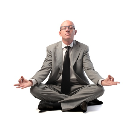meditation man: Businessman meditating Stock Photo