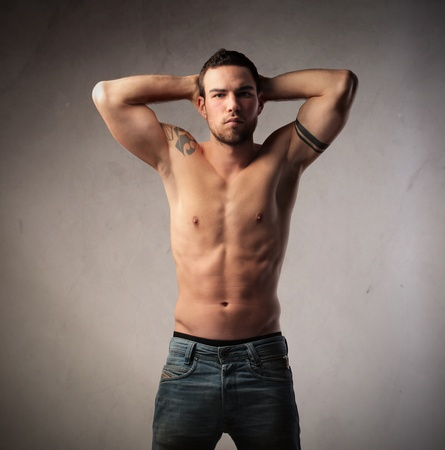 man in jeans: Handsome bare-chested young man