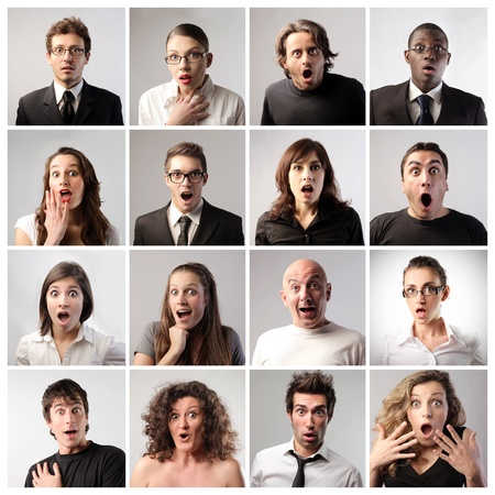 Composition of various people with astonished expression photo