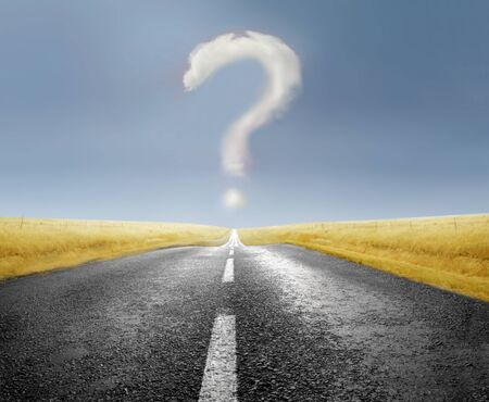 road marks: Question mark over a countryside road Stock Photo