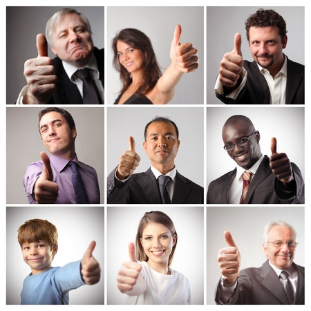satisfied people: Composition of satisfied people with thumbs up