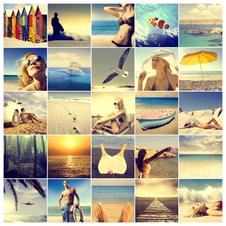 summer fun: Composition of images with summer as subject