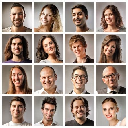 mujer fea: Composición de personas sonrientes Foto de archivo