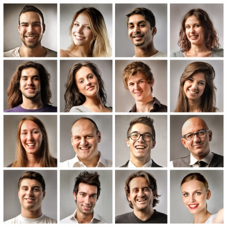 Zusammensetzung der lächelnde Menschen Standard-Bild - 11739478