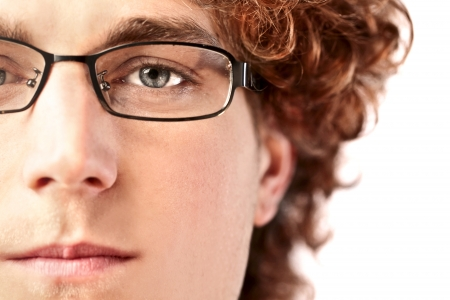 glass eye: Closeup of a handsome young man