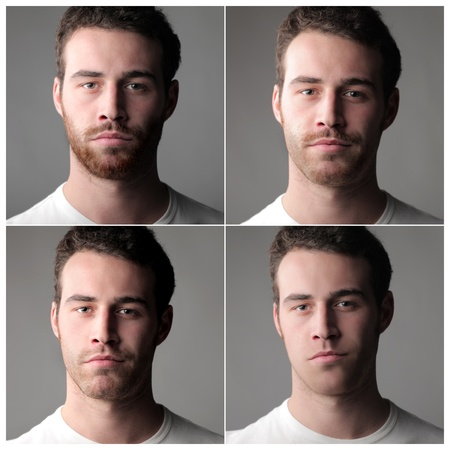 Composition of portraits of the same man with or without beard