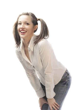 pigtails: Smiling beautiful woman with pigtails