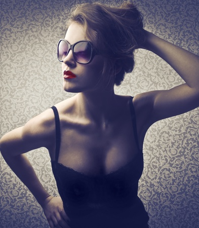 Beautiful elegant woman with red lipstick Stock Photo - 12199703