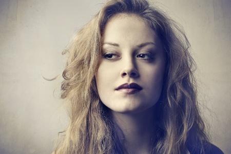 glancing: Beautiful woman glancing sideways