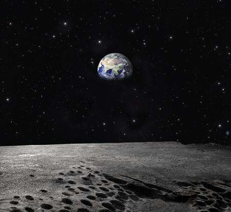 noche y luna: Planeta Tierra visto desde la Luna