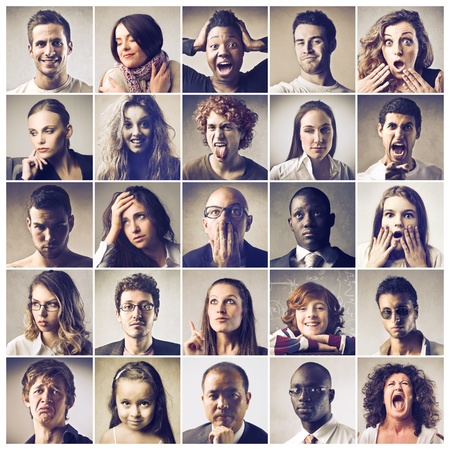 diversity people: Composition of people expressingdifferent feelings