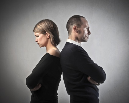 quarrel: Wife and husband turning their back on each other