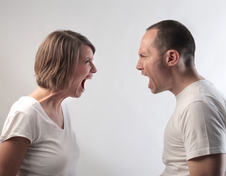 shout: Couple quarreling Stock Photo
