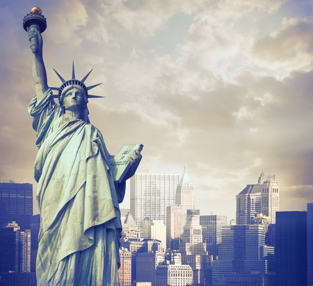 liberty: Statue of Liberty with New York in the background Stock Photo