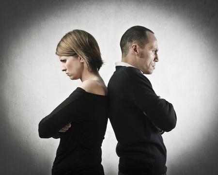 scheidung: W�tend Mann und Frau den R�cken zu kehren einander