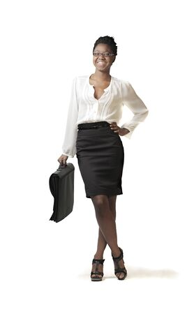 business case: Smiling african businesswoman Stock Photo