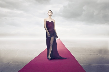 fashion catwalk: Beautiful elegant diva on the red carpet