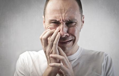 Sad man crying photo
