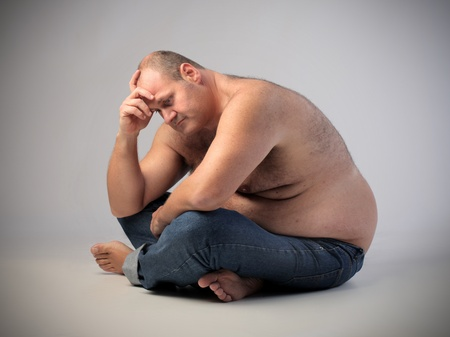 Sad fat man Stock Photo - 13038477