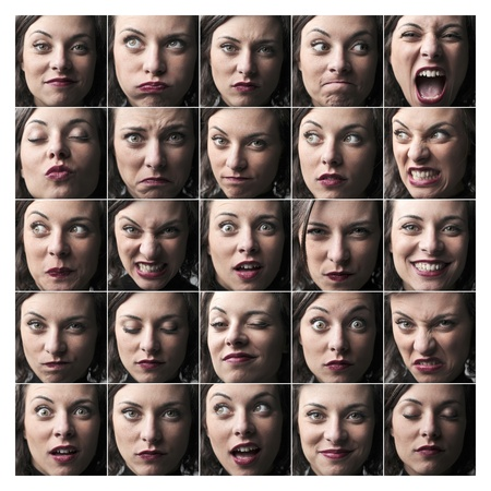 expressing: Composition of portraits of the same young woman expressing different feelings and moods