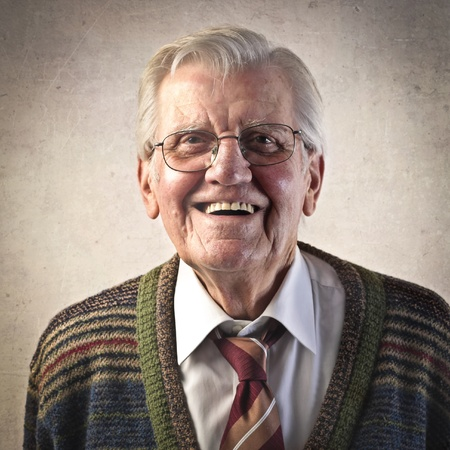 man with glasses: Portrait of a smiling senior man Stock Photo