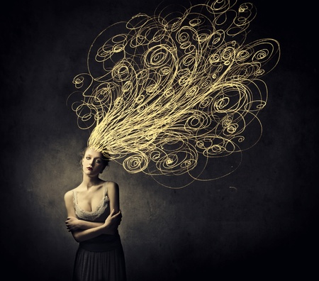 Beautiful young woman with tangled lines instead of her hair