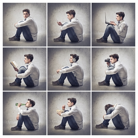 Composition of portraits of the same young man doing vaus activities Stock Photo - 13934335