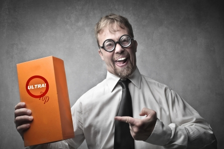 product purchase: Smiling salesperson advertising a product Stock Photo