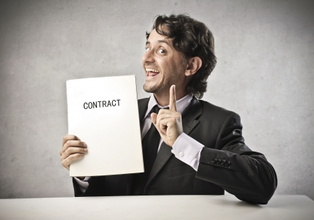 persuade: Businessman explaining the contract Stock Photo