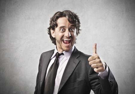 rejoices: A business man rejoices for the success Stock Photo