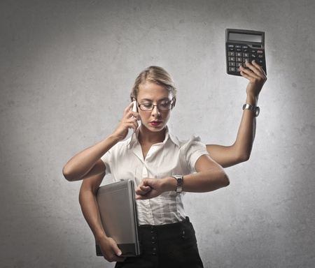 bald girl: Multitasking Businesswoman Stock Photo