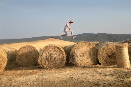 rick: Country Boy Jumping Stock Photo