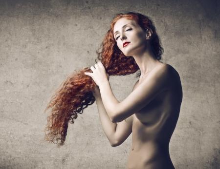 desnudo artistico: Pelo Rojo Largo Foto de archivo