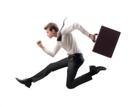 nimble: Businessman running