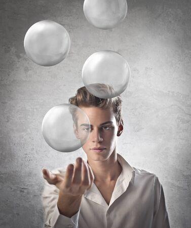 levitating: Boy levitating some air balls