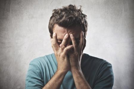 man crying: Desperate boy Stock Photo
