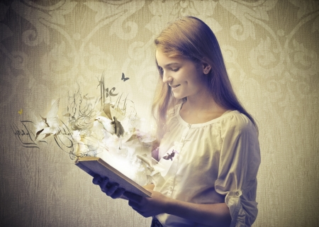literatures: beautiful girl read book fantasy Stock Photo