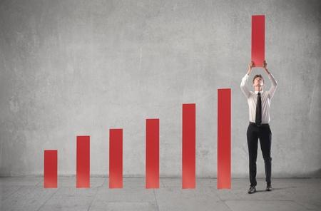 leader: Businessman making market analysis