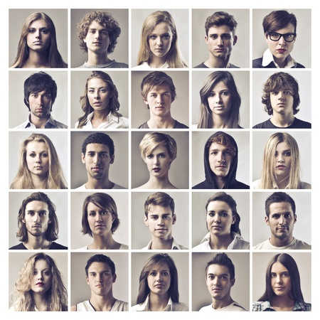 compositions: puzzle portraits faces of men and women