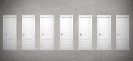 possibility: Seven white doors in a row