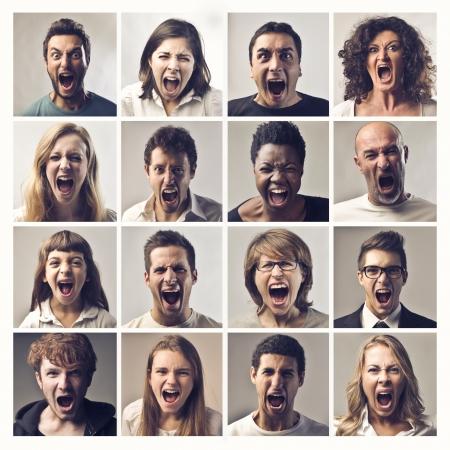 personne en colere: puzzle de visages criant Banque d'images