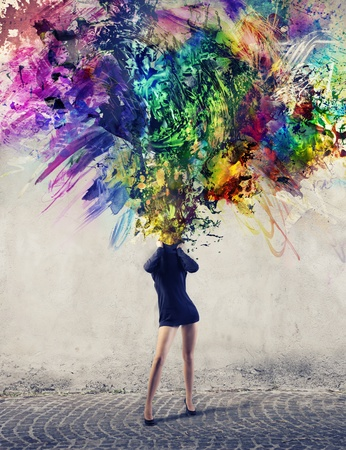 Woman allowing to escape from his neck a multitude of colorful paints Stock Photo - 15166199