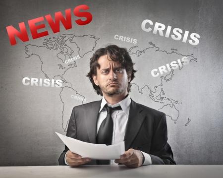 pressman: Astonished anchorman presenting the news