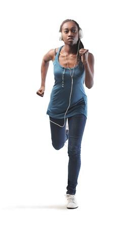 sought: Black girl jogging Stock Photo
