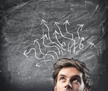 indecision: Man thinking a solution Stock Photo